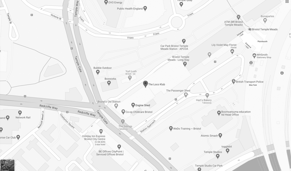 Map of Loco Klub and Temple Meads